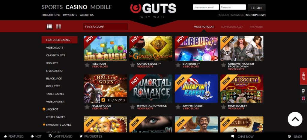 Guts Casino Review: Games and Promotions